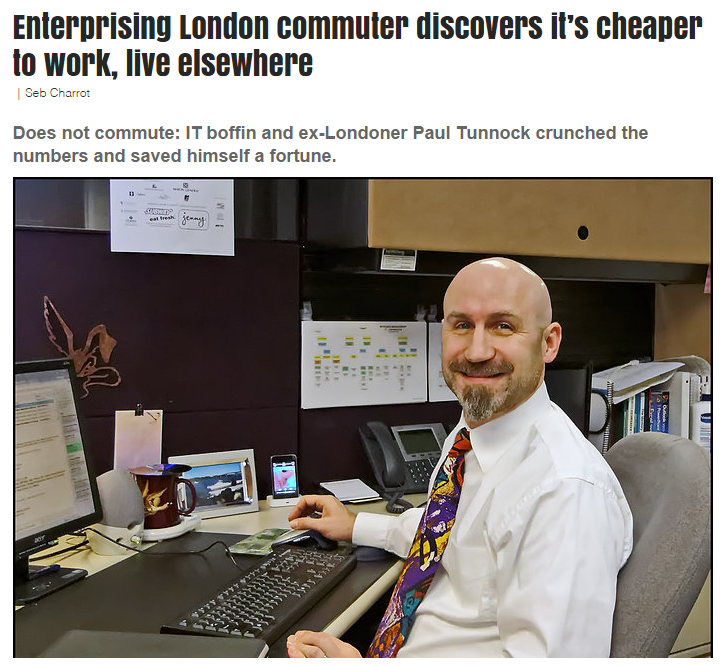 Enterprising London commuter discovers it's cheaper to work, live elsewhere